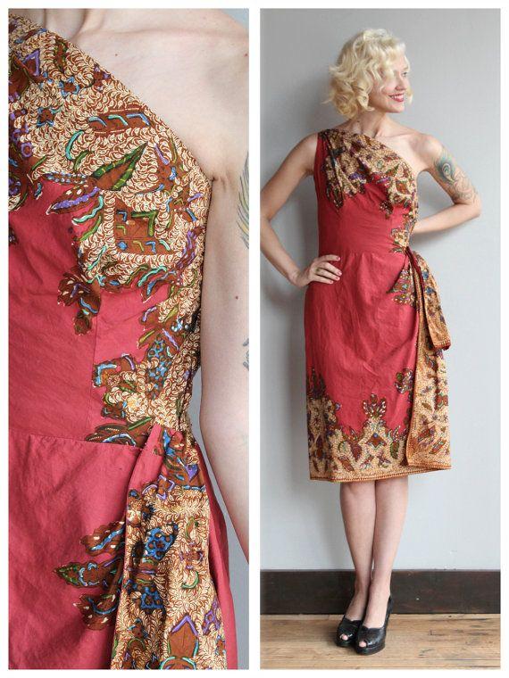 1950s Dress // Sultry Sarong Dress // vintage by dethrosevintage