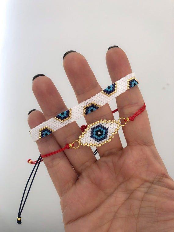 Miyuki evil eye charm bracelet set for women, unique and chic gift for women, protection bracelet, evil eye bracelet