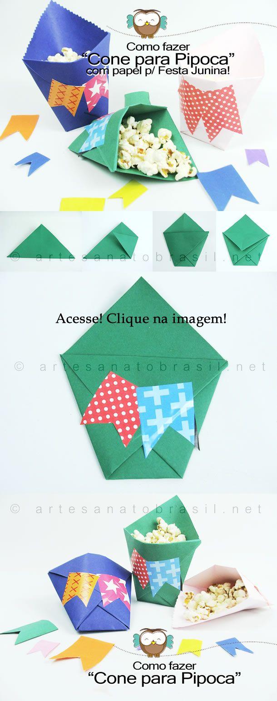 Cone de papel para pipoca: http://artesanatobrasil.net/cone-para-pipoca-passo-a-passo/ #artesanatobrasil #artesanato #pipoca #festainfantil #festajunina #passoapasso