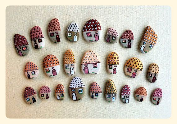 Painted Pebbles - Magnets: Houses Painting on Pebble, Painted Stones, Pebble magnet, Stone Magnet, Pebble Art
