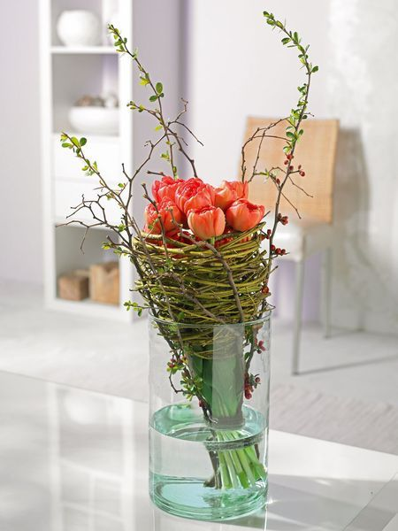 Tulips Bouquet - tulips in a funnel with ornamental quince branches