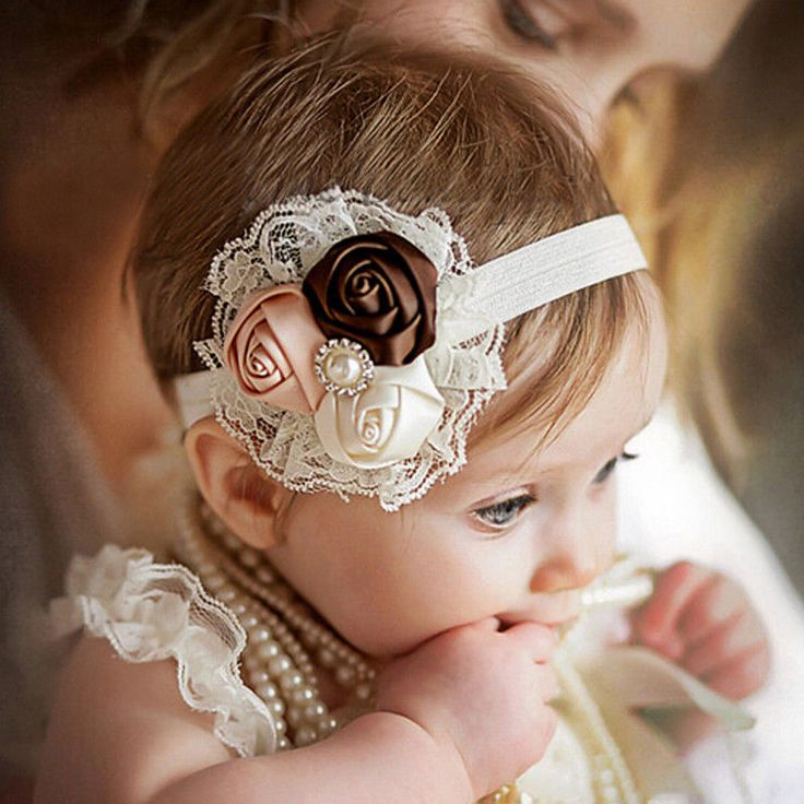 Baby Hair Bows Girls Headwear Retail new fashion Hair Bands Lace mix 3 Rose head #Handmade