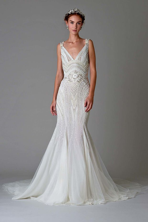 Dress 10 from Marchesa Bridal Fall 2016 Collection - Gorgeous beading from top to bottow, mermaid v-neck gown with open back - see the rest of the collection on www.onefabday.com