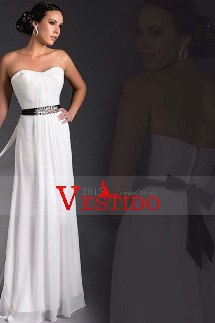 2015 festoneado una línea vestidos de novia con cuentas Wasitline gasa piso-longitud