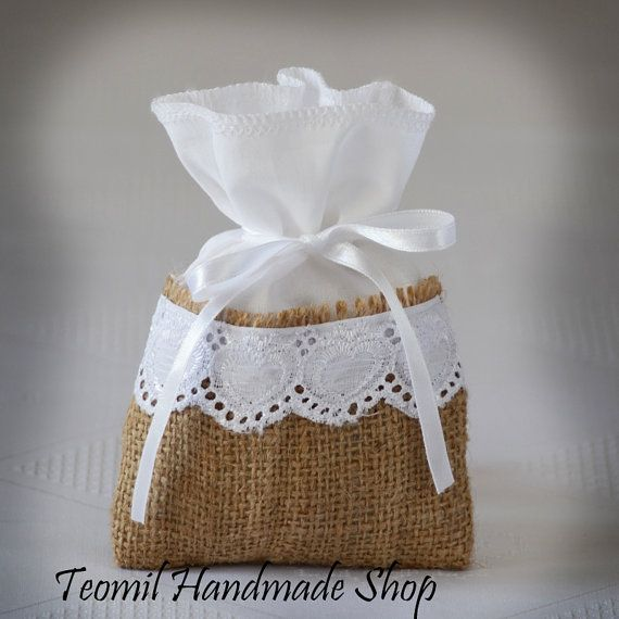 Candy Buffet Bags Romantic Container Burlap and Linen by Teomil, $175.00