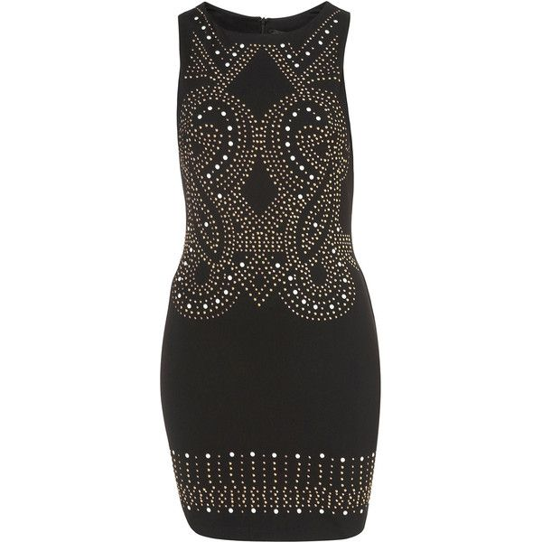 Petite Stud Bodycon Dress ($96) ❤ liked on Polyvore featuring dresses, black, petite bodycon dresses, studded dresses, body con dress, bodycon dresses and petite dresses