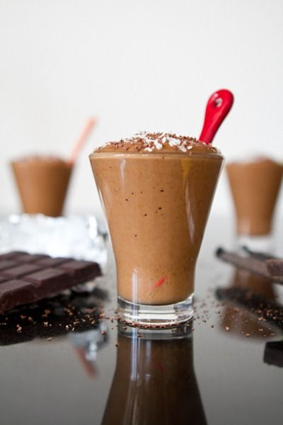 "chocolate ""pudding"" made in a blender using frozen banana and avocado."
