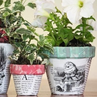 Decorative flowerpots can be expensive. You can get loads of style for a fraction of the cost by decoupaging everyday terra-cotta pots—and the look is completely customizable. Here, pages and illustrations from Alice's Adventures in Wonderland add interest and merriment to a trio of different-size pots.
