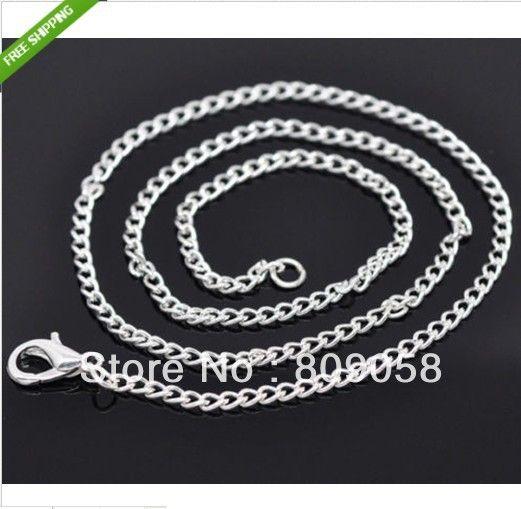 Посеребрение ожерелье цепочка звеньевая, Посеребрение лобстер-застёжка застежка цепь ожерелья 2.6 * 2 мм 20  длина