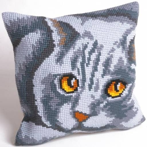 Persian Cat Cushion Panel Cross Stitch Kit £20.95 | Past Impressions | Collection D'Art