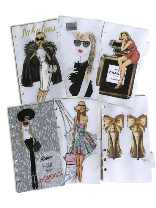 Make your planner fabulous and stylish with this set of 6 dividers/dashboards for your Filofax Personal, Pocket or A5 Sized Planner.  Please
