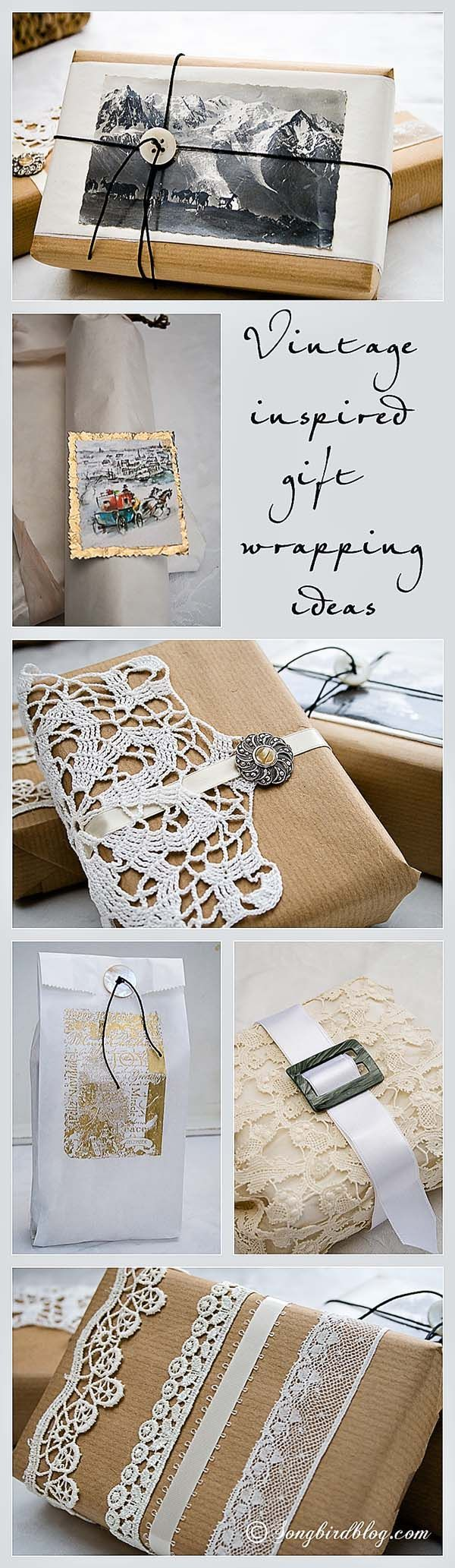 Love this cute idea for vintage gift wrapping!