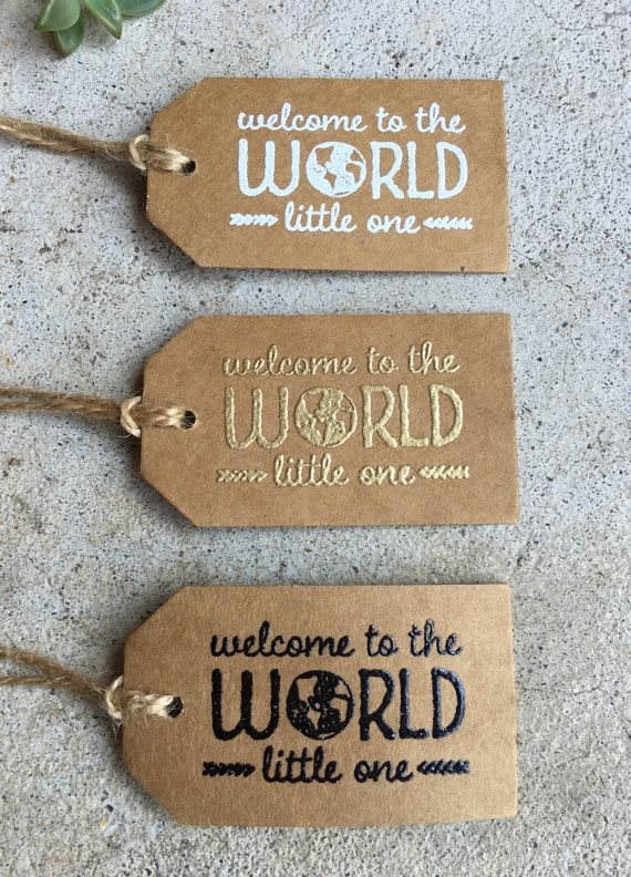 "Handmade ""welcome to the WORLD little one"" Baby Shower Favor…"