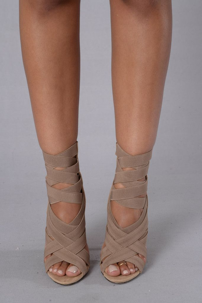 """- Available in Black, Khaki, Mint, and Fuchsia - Suede Sandal - Elastic Strappy Front - 4"""" Heel. Love them"""