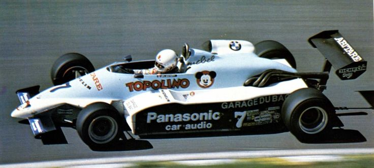 """Philippe Streiff - AGS JH19B BMW / Mader - Écurie Armagnac Bigorre Nogaro (AGS works team) - 1983 - """"In this picture, the driver doesn't wear Streiff's usual helmet, it doesn't looks like Ballalabio's helmet either."""""""