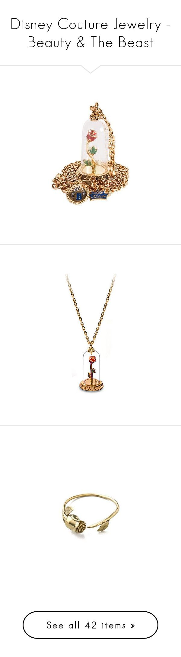 """""""Disney Couture Jewelry - Beauty & The Beast"""" by atomik-concia ❤ liked on Polyvore featuring disney, jewelry, necklaces, accessories, jewels, rose jewelry, disney couture jewelry, rose necklace, disney couture and disney couture necklace"""