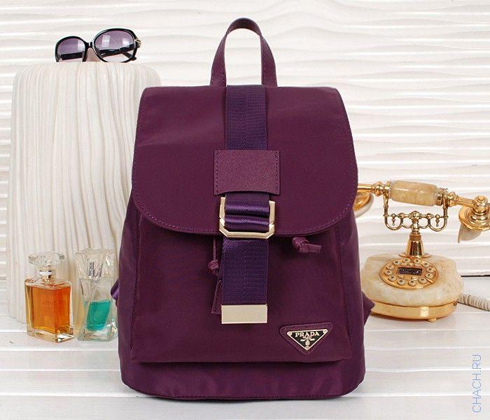 Оригинальный женский тканевый рюкзак Prada темно-фиолетового цвета