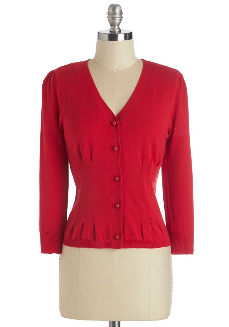 From Place to Place Cardigan in Cherry. Your style is far from predictable, but you do have your go-tos - like this cherry-red cardigan! #red #modcloth