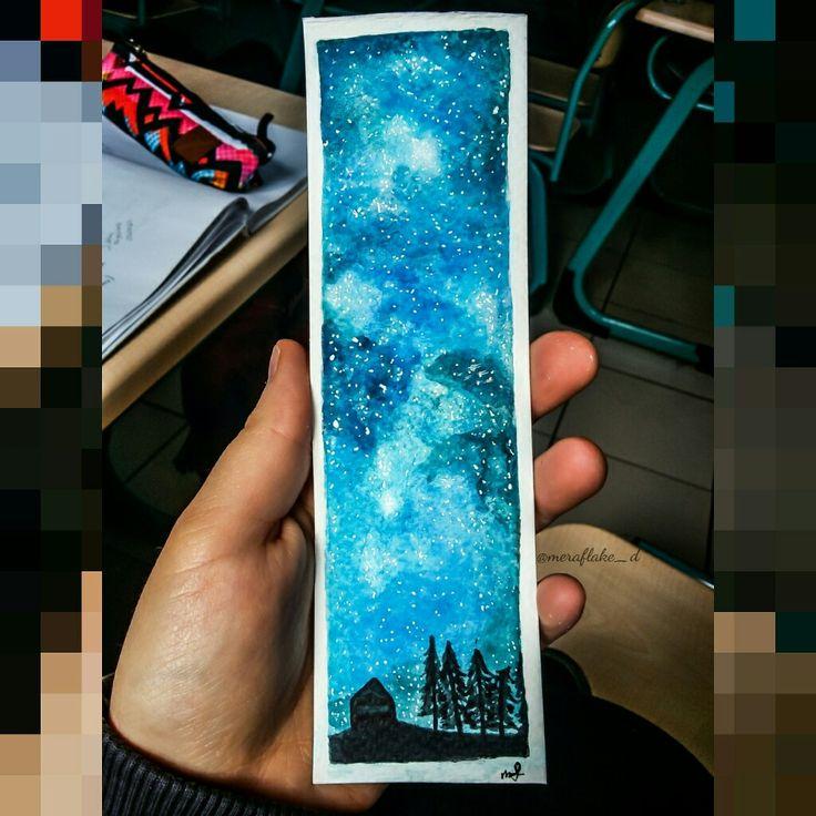Galaxy landscape watercolor bookmark