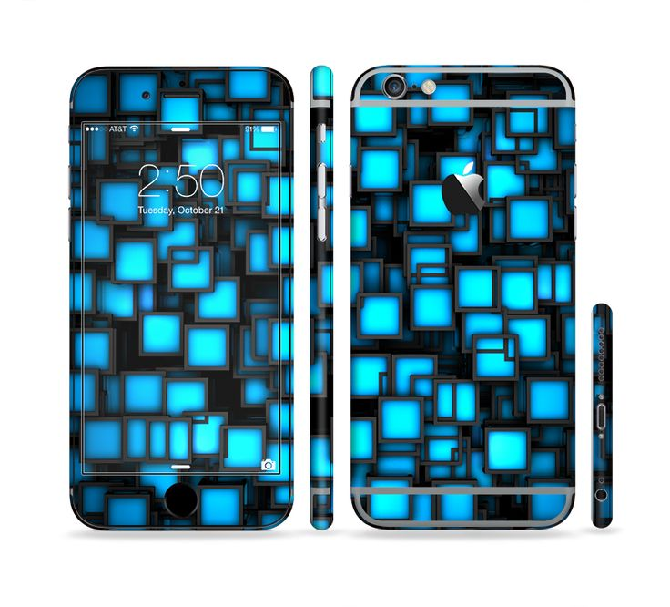 The Neon Blue Abstract Cubes Sectioned Skin Series For The