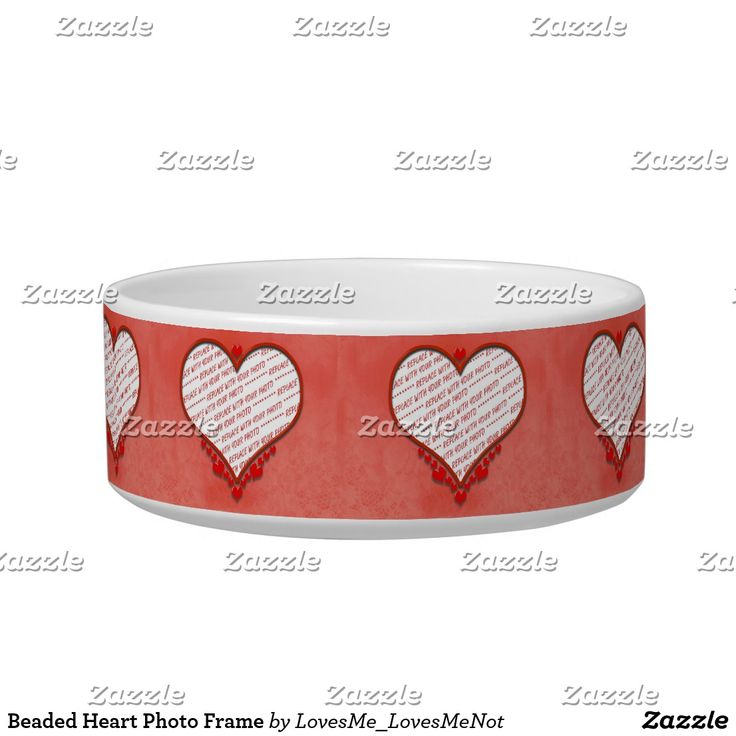 Beaded Heart Photo Frame Bowl -  Beaded Heart Photo Frame Trinket Dish / Pet Bowl - Add up to 8  photos to this dish. This pet bowl is available in two size options. ~ #Gravityx9  #lovesmelovesmenot #zazzle #addaphoto #photoframe  #frames4you