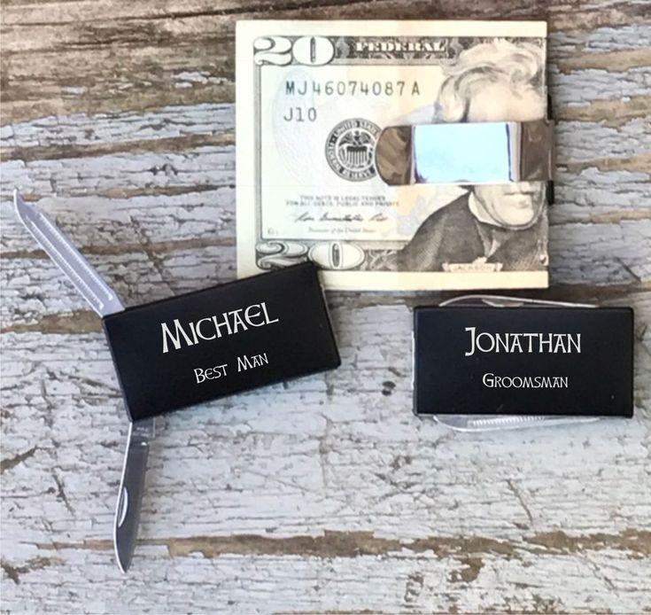 Personalized Engraved Money Clip Knife Groomsman Groomsmen Best Man Gifts Black #Groomsman