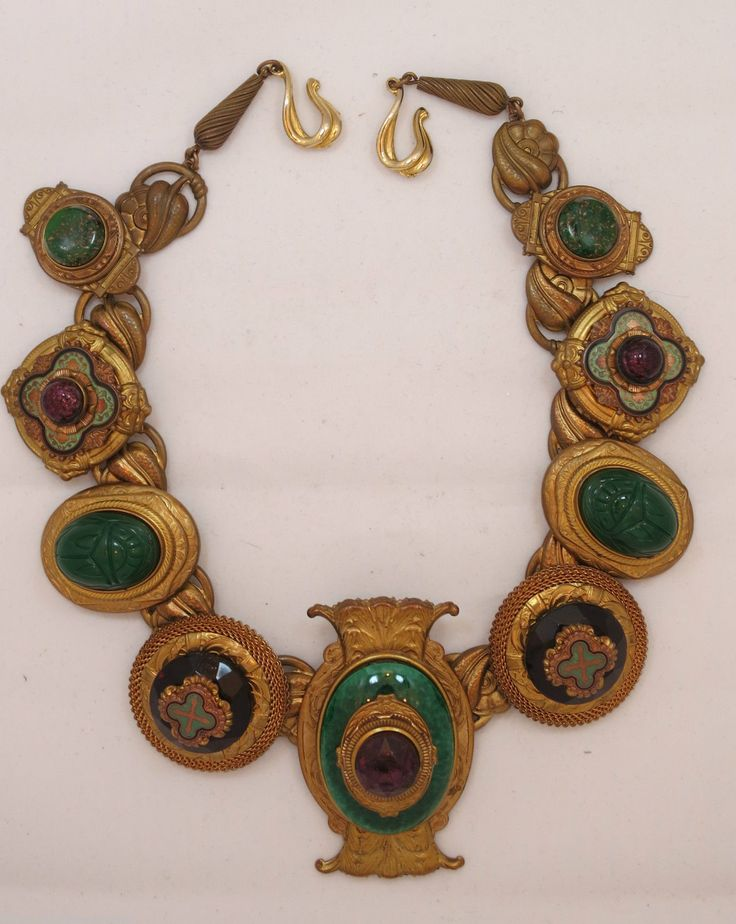 Large Vintage Egyptian Revival Necklace by Patrice. Vintage Costume JewelryVintage NecklacesJewelry WatchesAntique ... & 312 best Glorious Costume Jewelry images on Pinterest | Fashion ...