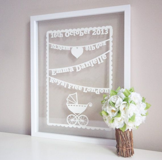 Personalised New Baby Papercut Art by ThePaperarty on Etsy