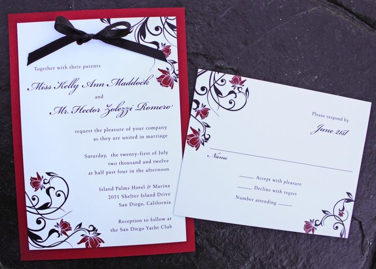 red rose and black swirl vine with black ribbon and red backing wedding invitations
