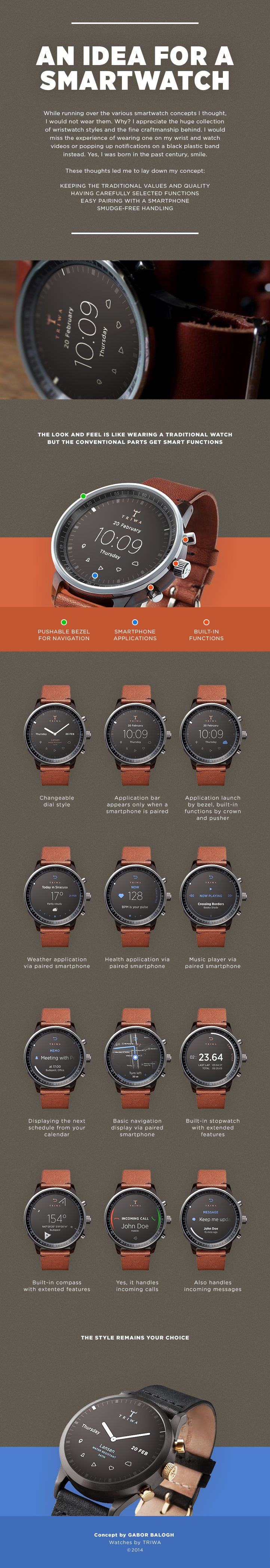 Smartwatch Concept - really nice idea, but would definitely add back an authentic analog touch with the hands on the face of the watch as an option to polish it off visually. Simplified graphics for the hands is doing the watch style injustice.