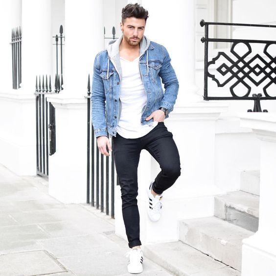 Look décontracté avec un pull à capuche #homme #tenue #look #men #fashion #fashionformen