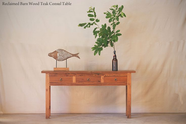 Hunt and Lane | a top shelf furniture company | Reclaimed Barn Wood Teak Console Table | Three Drawers | 3 | Java Indonesia | tropical living | organic, sustainable furnishings and interiors for your home.