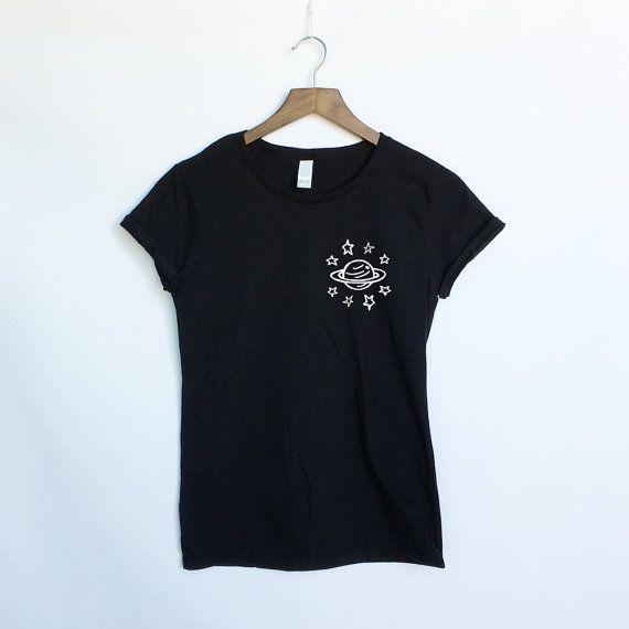 Planeta y estrellas universo camisa - espacio galaxia y estrellas Tumblr Shirt - Camisa de espacio planetas y sistema Solary - Celestial - presente y regalo