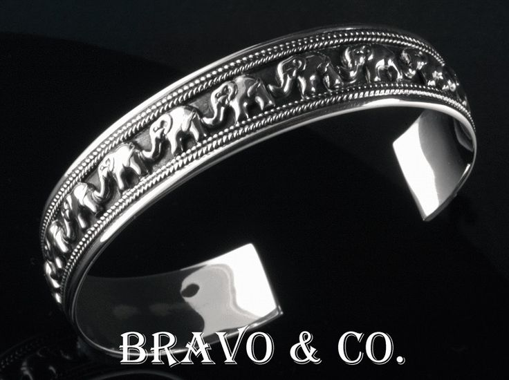 3SB-162 Hallmark 925 Solid Sterling Silver Unique New Elephants Bangle Bracelet