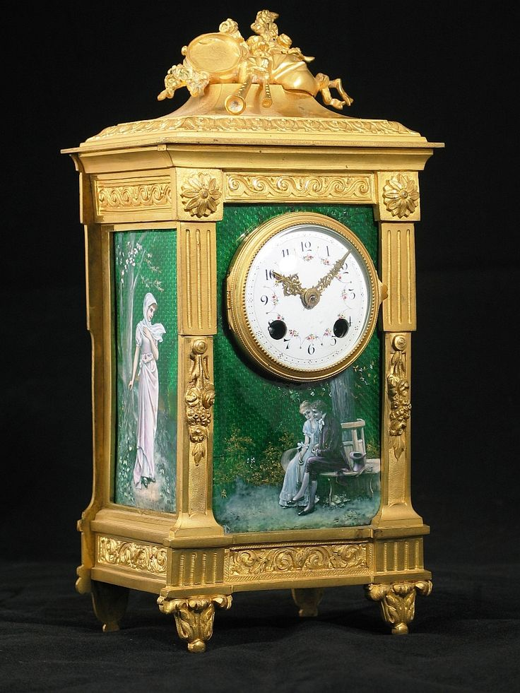 A Fine Louis XVI Style Antique Gilt-Bronze and Green Enamel Mantel Clock, French, Circa 1890.
