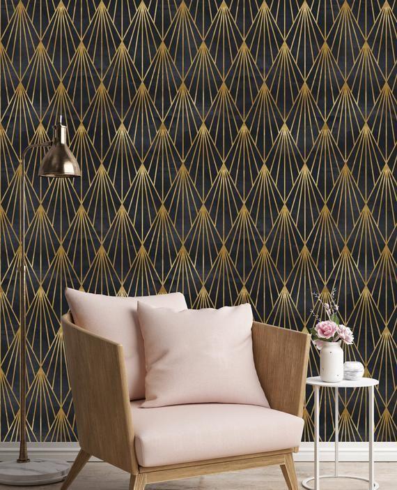 Removable Wallpaper Mural Peel Stick Gatsby Black And Gold Etsy Wallpaper Living Room Art Deco Bedroom Art Deco Interior