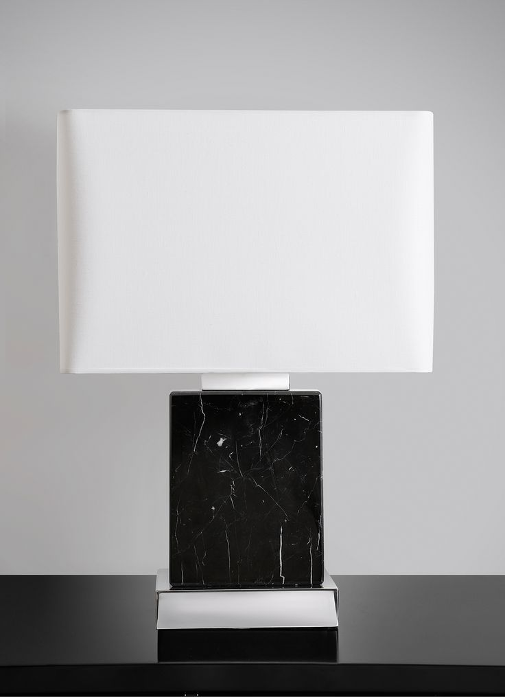 Black marble lamp with polish nickel details