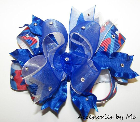 Glitzy Patriotic Camo Girls Hair Bow by accessoriesbyme on Etsy #fall #zulily FREE SHIPPING