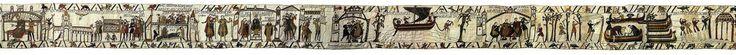 Tapiz de Bayeux. Fines de 1100 d.C. Musée de la Tapisserie de Bayeux. Bayeux, Normandía. Francia.  Según la tradición francesa, la pieza habría sido creada por la reina Matilda, esposa de Guillermo el Conquistador, y sus sirvientas, de ahí la denominación secundaria de Tapiz de la Reina Matilde. La hipótesis historiográfica más aceptada es que fue realizado por mandato del arzobispo de Bayeux y hermanastro de Guillermo, para servir de ornamento el día de su consagración, el 14 de julio de…