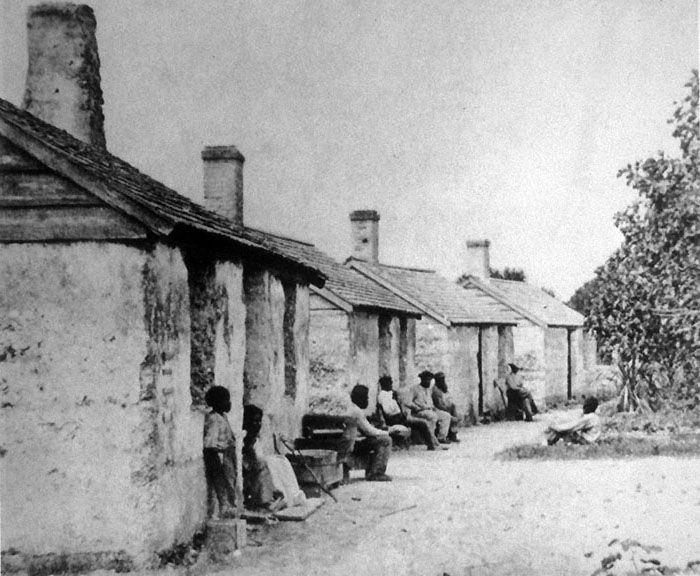 Slave Cabins at Kingsley Plantation, Jacksonville, Flordia. 1800's.