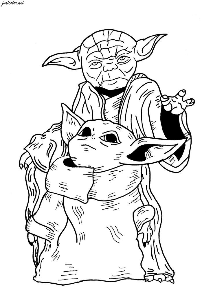 Baby Yoda & Yoda Star Wars Movies Coloring Pages for