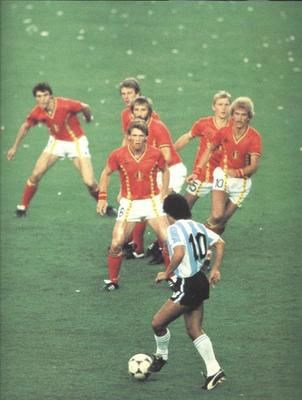 Diego Maradona lines up against 6 Belgium defenders in the World Cup 1982.  He was the competition's outstanding player and Argentina went on to win the cup.