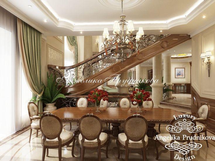 Дизайн проект интерьера зала в особняке в Питере в классическом стиле - фото