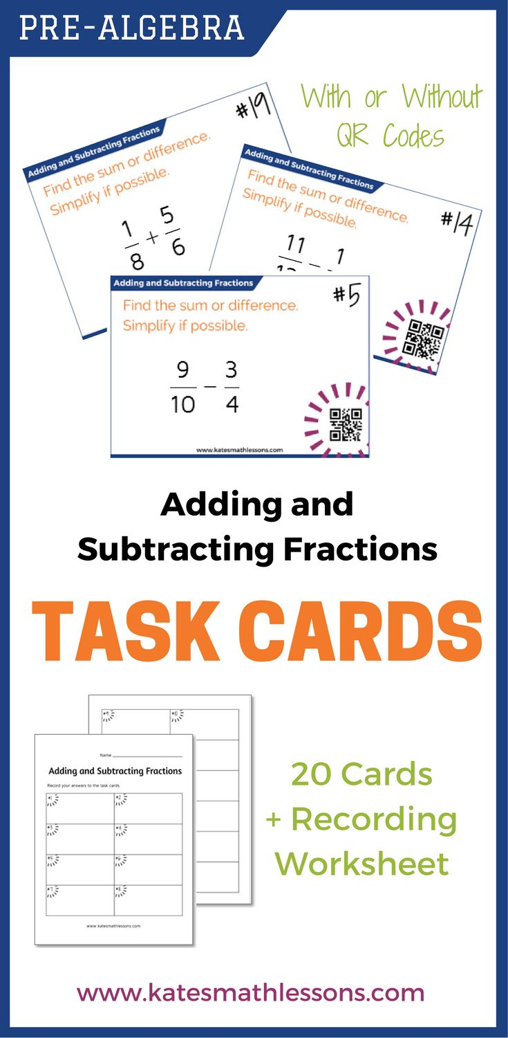 Best 25 adding and subtracting fractions ideas on pinterest use this set of 20 task cards to help students practice adding and subtracting fractions with different denominators includes a set with qr codes for robcynllc Choice Image