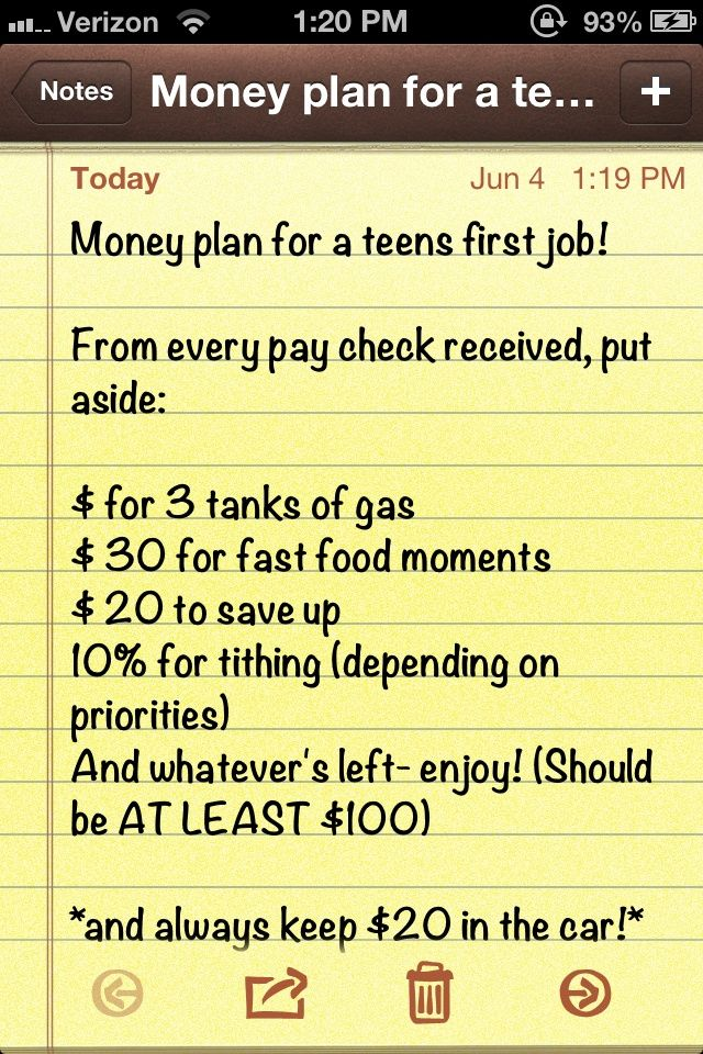 Money planning for a teenagers first job. Wish i would've used this from the start!
