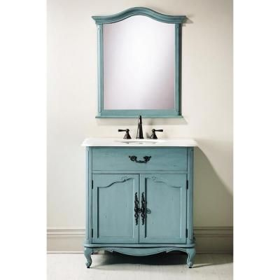 Home Decorators Collection Provence 33 In W X 22 D Bath Vanity Blue With Natural Marble Top White