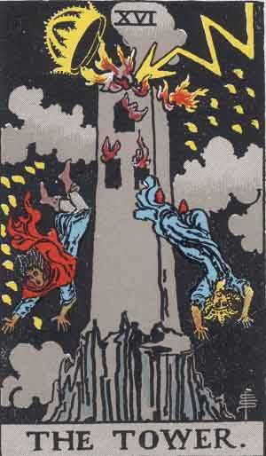 The Toweris the 16thMajor arcanacard. Not a wholly negative card, even if it is illustrated with a chaotic scene; fire, lightning and people falling from a building. The Tower in a sentence The Tower represents sudden, almost frightening change, disruption and conflict. The Tower in a time based position Past -The Tower in the Past position means that you may have had a traumatic event happen in your past. It could be distant or recent, but it is still affecting you. Sometimes we…