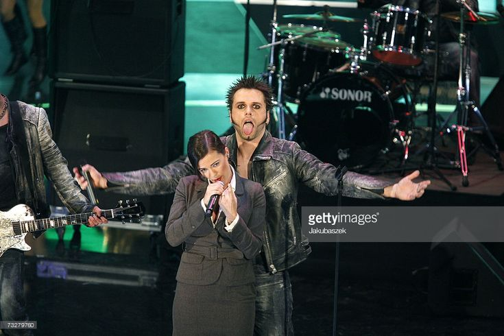 Musicians, Dero (R) and Marta Jandova of the winning act Oomph! perform at the Bundesvision Song Contest 2007 at Tempodrom on February 9, 2007 in Berlin, Germany. About 16 German singers and bands, one from every German federal state perform in the competition.