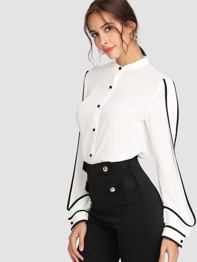 e35e0b260edd1 Elegant Contrast Binding Curved Hem Shirt. I like this look. Perfect for  the office or would look so good teamed with pants like this for a night  out.