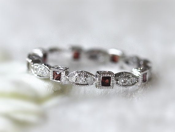 Unique Garnet& Diamond Band Princess Natural Garnet H/SI Diamond Anniversary Ring Bridal Band/Eternity Ring/Promise Band Stacking Ring